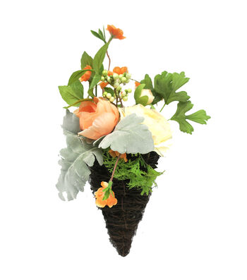 Fresh Picked Spring Peony, Ranunculus & Leaves in Grapevine Cone-Peach