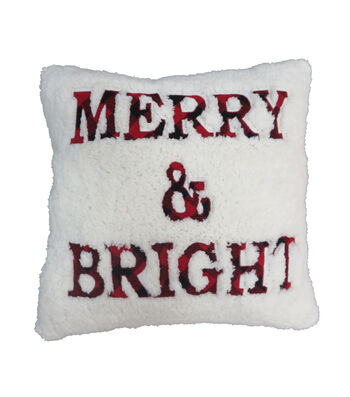 Maker's Holiday Christmas Sherpa Pillow-Merry & Bright