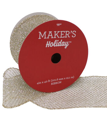 Maker's Holiday Christmas Glitter Mesh Ribbon 4''X40'-Gold