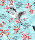 Asian Inspired Cotton Fabric 43\u0022-Cherry Blossom Cranes