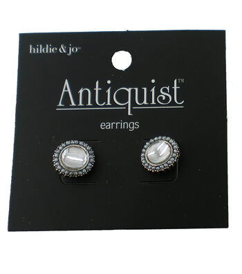 hildie & jo™ Antiquist Round Antique Silver Earrings-Crystals
