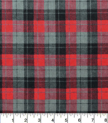 "Snuggle Flannel Fabric 42""-Skylar Red Black Plaid"