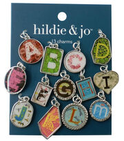 hildie & jo™ 13 Pack A thru M Charms-Silver Letters, , hi-res