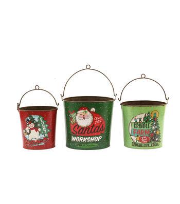 3R Studios Christmas 3 pk Tin Buckets-Retro Holiday Images