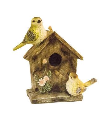 Wild Blooms Resin Bird Perched Birdhouse