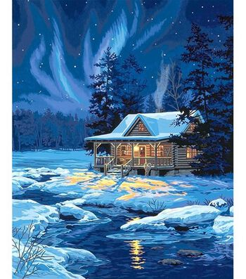 Paint By Number Kit 16''X20''-Moonlit Cabin
