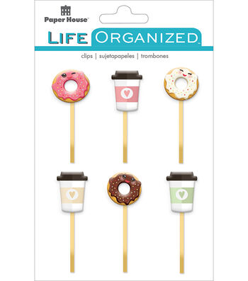 Paper House Life Organized Epoxy Clips-Coffee & Donuts