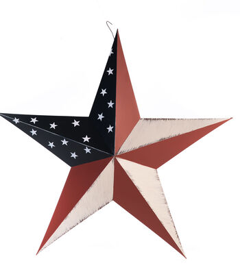Americana Patriotic 24'' Metal Hand Painted Star