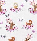 Nursery Cotton Fabric 43\u0022-Woodland Faces