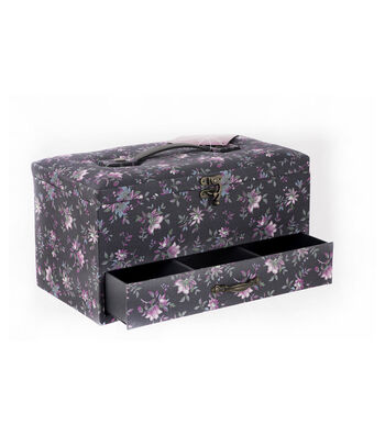 Large Rectangle Sewing Basket-Gray Floral