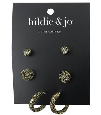 hildie & jo™ 3 Pack Antique Gold Earrings