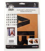 FolkArt® Alphabet & Monogram Paper Stencils - Bold Font, 5 inch, , hi-res