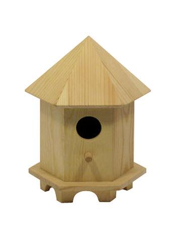 Large Birdhouse Hexagon Roof W/Raised Base