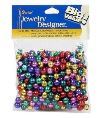 Darice Jewelry Designer Metallic Beads-Multicolor 8mm