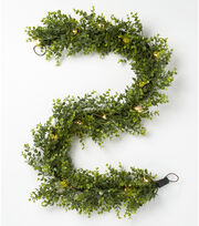 Blooming Holiday Christmas 66'' Plastic Boxwood Lit Garland-Green, , hi-res