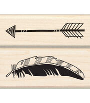 Inkadinkado Mounted Feather Arrow Rubber Stamp Set, , hi-res
