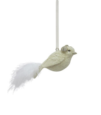 Maker's Holiday Christmas Holiday Charm Bird With Feather Tail Ornament