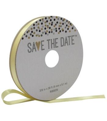 Save the Date 3/8'' X 30' Ribbon-Yellow Satin