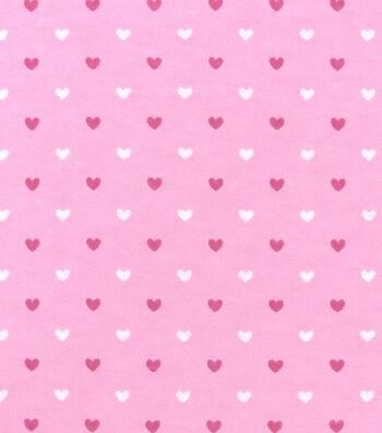 "Nursery Flannel Fabric 42""-Pink Hearts"