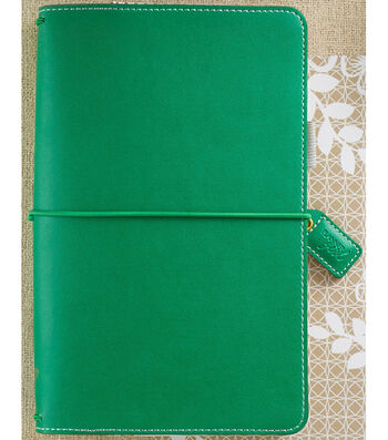 "Faux Leather Travelers' Planner 5.7""X8""-Summer Green"