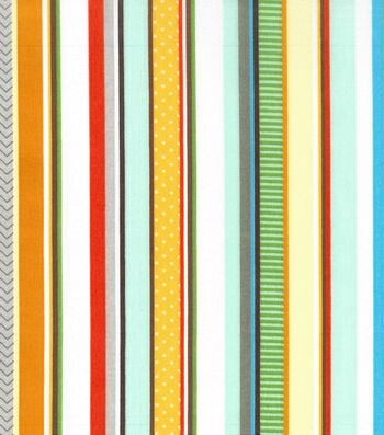 "Nursery Cotton Fabric 43""-Zoo Stripe"