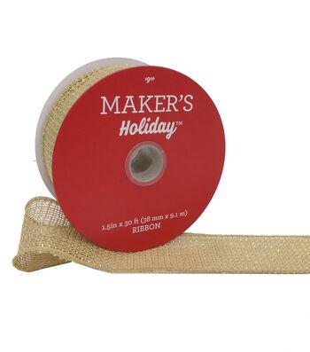 Maker's Holiday Christmas Burlap Ribbon 1.5''X30'-Natural & Gold