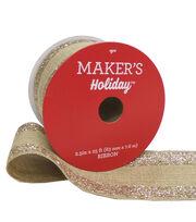 Maker's Holiday Christmas Burlap Ribbon 2.5''x25'-Glitter Edge, , hi-res