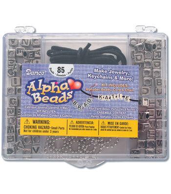 Alphabet Bead Kit-Silver Square W/Black Letters