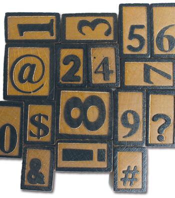 Vintage Collection Letter Press Set 16 Piece-Numbers/Symbols