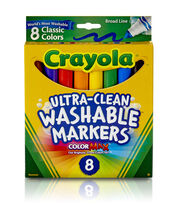 Crayola Broad Line Washable Markers-8PK/Classic Colors, , hi-res