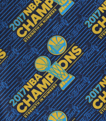 """Golden State Warriors Cotton Fabric 44""""-Logo Tossed"""
