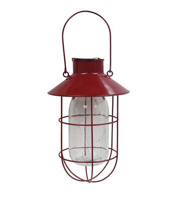 Americana Patriotic Solar Hanging Lantern-Red
