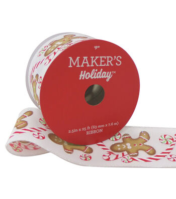 Maker's Holiday Christmas Ribbon 2.5''x25'-Gingerbread on White