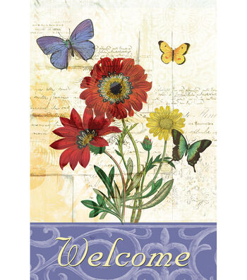 Welcome Fabric Flag 12''x18''-Butterfly Garden