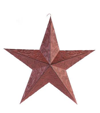 Americana Patriotic 18'' Metal Embossed Star-Red