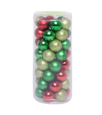 Maker's Holiday Christmas 30 mm Mini Shatterproof Ornaments-Red & Green