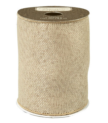 "Decorative Ribbon 4"" Natural Burlap Ribbon-Silver Metallic Overlay"