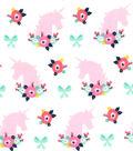 Nursery Flannel Fabric 42\u0027\u0027-Bright Unicorn & Florals