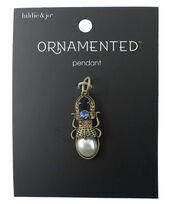hildie & jo™ Ornamented Bug Antique Gold Pendant-Pearl & Crystals, , hi-res