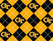 """Georgia Tech Yellow Jackets Fleece Fabric 58""""-Argyle, , hi-res"""