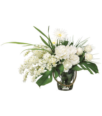 Bloom Room Luxe 22'' Larkspur, Peony & Rose In Glass-White