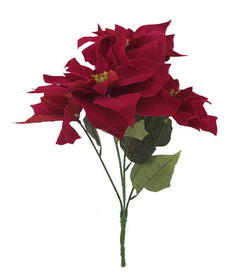 Blooming Holiday Christmas 21'' Poinsettia Spray-Red