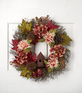 Blooming Autumn 24\u0027\u0027 Hydrangea Pinecone Birdhouse Wreath-Pink & Burgundy