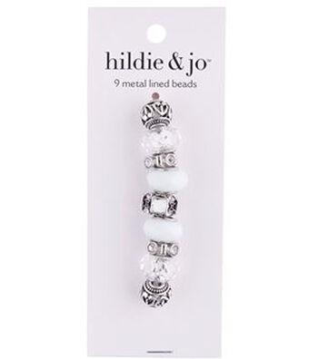 hildie & jo™ Mix & Mingle Metal Lined Glass Beads-White
