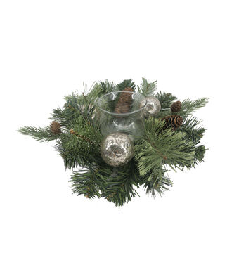 Blooming Holiday Ornament Candle Holder-Silver Frosted
