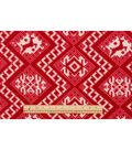Anti-Pill Fleece Fabric 59\u0022-Red Reindeer Sweater Knit