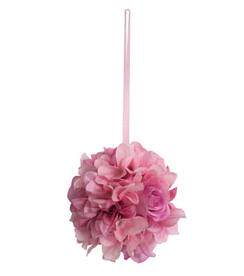 Fresh Picked Spring Dahlia, Rose & Hydrangea Kissing Ball-Pink