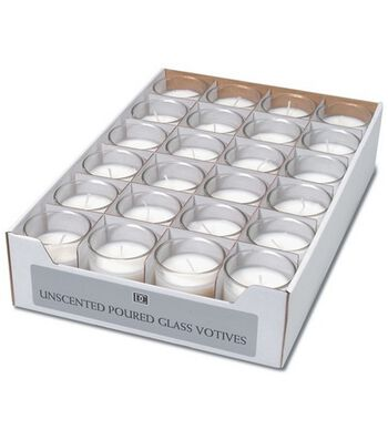 Darice® 24pk Unscented Poured Glass Votives-White