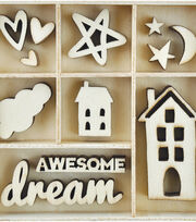 Kaisercraft 35 pk Themed Mini Wooden Flourishes-Dream, , hi-res