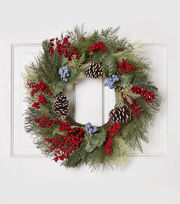 Blooming Holiday 23'' Berry, Grapevine & Pinecone Wreath-Red & Blue, , hi-res